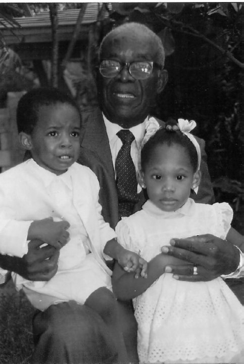 My grandfather, me and my cousin Danielle.